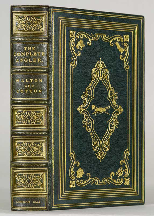 """""""The Compleat Angler"""", Walton and Cotton; in a Stikeman binding executed ca. 1892, front board exhibiting the same stamps as a number of bindings from this narrow period in the firm's output"""